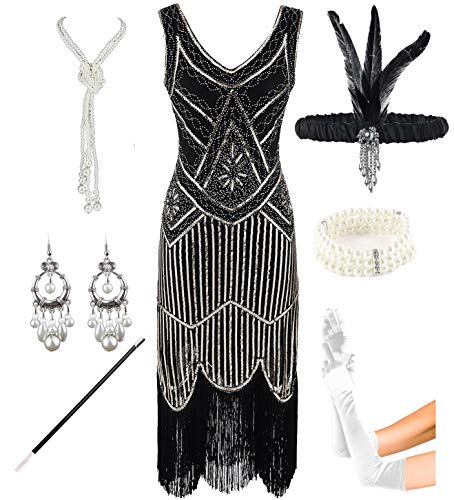 1920s Gatsby Sequin Fringed Paisley Flapper Dress with 20s Accessories Set (XS, Black-Gold) ()