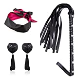 3 Bondage Set Under Bed Restraint Kit SM Sex Toy Leather Whip Floggers with Satin Eye Mask Blindfold/Handcuffs Bra Nipple Cover Pasties Stickers Nipple Jewelry Nipple Toys