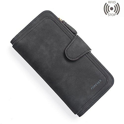 Womens Wallet Vintage Matte Clutch Card Holder Buckle Zipper Long Purse (Black 2) by Ifunle