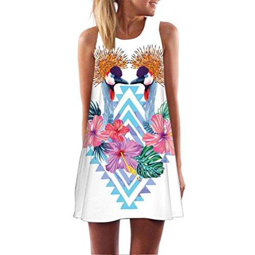 Elegance Sleeveless - Clearance Deals! Vintage Boho Blouse Tops Women Loose Sleeveless 3D Floral Print Mini Dress (Medium, White)