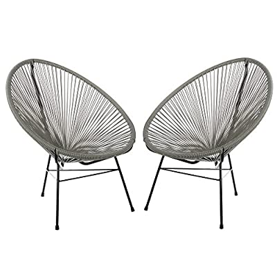 Acapulco Woven Basket Lounge Chair, Set of 2, Grey - Set of 2 indoor/outdoor basket lounge chairs. Durable plastic string weave cradles the body. Accent the chair with pillows or blankets. Black powder-coated rust-proof iron frame. - patio-furniture, patio-chairs, patio - 51MX19LGEoL. SS400  -
