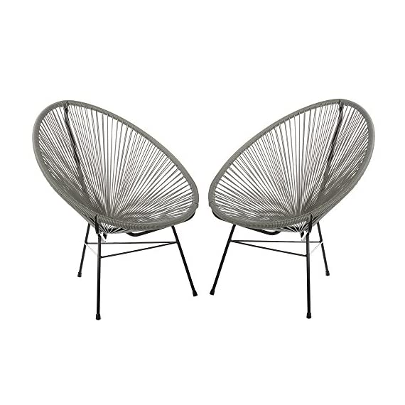 Acapulco Woven Basket Lounge Chair, Set of 2, Grey - Set of 2 indoor/outdoor basket lounge chairs. Durable plastic string weave cradles the body. Accent the chair with pillows or blankets. Black powder-coated rust-proof iron frame. - patio-furniture, patio-chairs, patio - 51MX19LGEoL. SS570  -