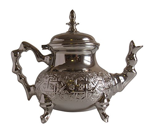 Vintage Styled Handmade Moroccan Silver Plated Teapot with Built In Tea Infuser Filter, Bring Home a Beautifully Functional Near East Tradition, 34 Ounces (1 Liter)