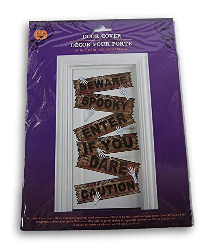 Spooky Town Halloween ''Caution Beware Enter if You Dare'' Door Cover with Skeleton Hand Decorations - 30 x 60 Inches