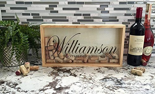 Qualtry Personalized Cork Shadow Box - Wine Cork Holder Display Great Wedding Gift (16.25