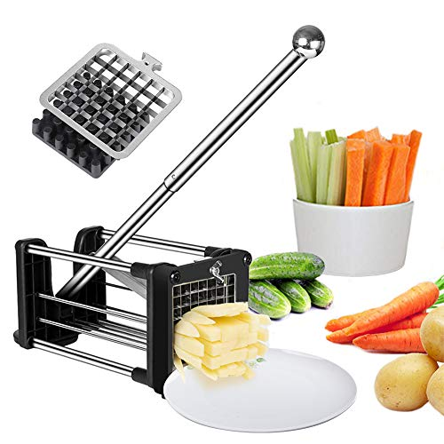 French Fry Cutter Potato Chipper with 2 Interchangeable Heavy Duty