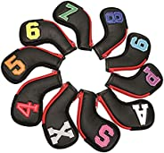 SM SunniMix Golf Club Iron Head Covers, 10 pcs Golf Headcover Set, Thick Synthetic Leather Golf Iron Head Cove