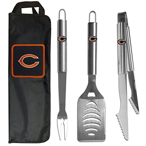 NFL Chicago Bears Steel BBQ Tool Set (3-Piece) with Bag