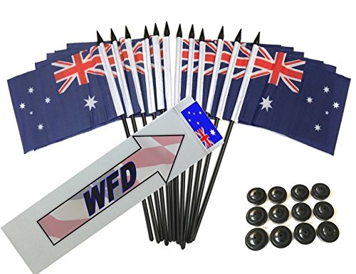 Pack of 12 4x6 Australia Polyester Miniature Desk & Little Table Flags, 1 Dozen 4x 6 Australian Small Mini Hand Waving Stick Flags with 12 Flag Bases (Flags with Stands)
