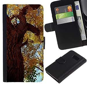 EuroTech - Samsung Galaxy S6 SM-G920 - Fall Autumn Tree Leaves Golden Forest Sky Nature - Cuero PU Delgado caso Billetera cubierta Shell Armor Funda Case Cover Wallet Credit Card