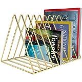 Magazine Rack,Newspapers Holder Magazine Letters Storage Files Folder Stand 9 Slot Desktop Organiser Book Shelf Vintage Design Metal Home Office (Gold)