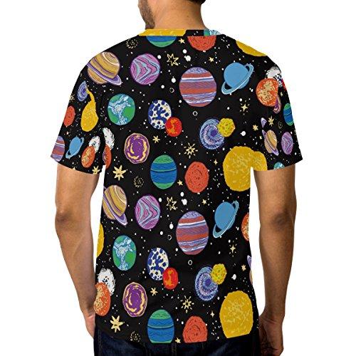 Mignon Univers Courtes Alaza Décontracté Du shirt À Ras T Homme Multicolore Cou Manches Planète Griffonnage 500qBwI