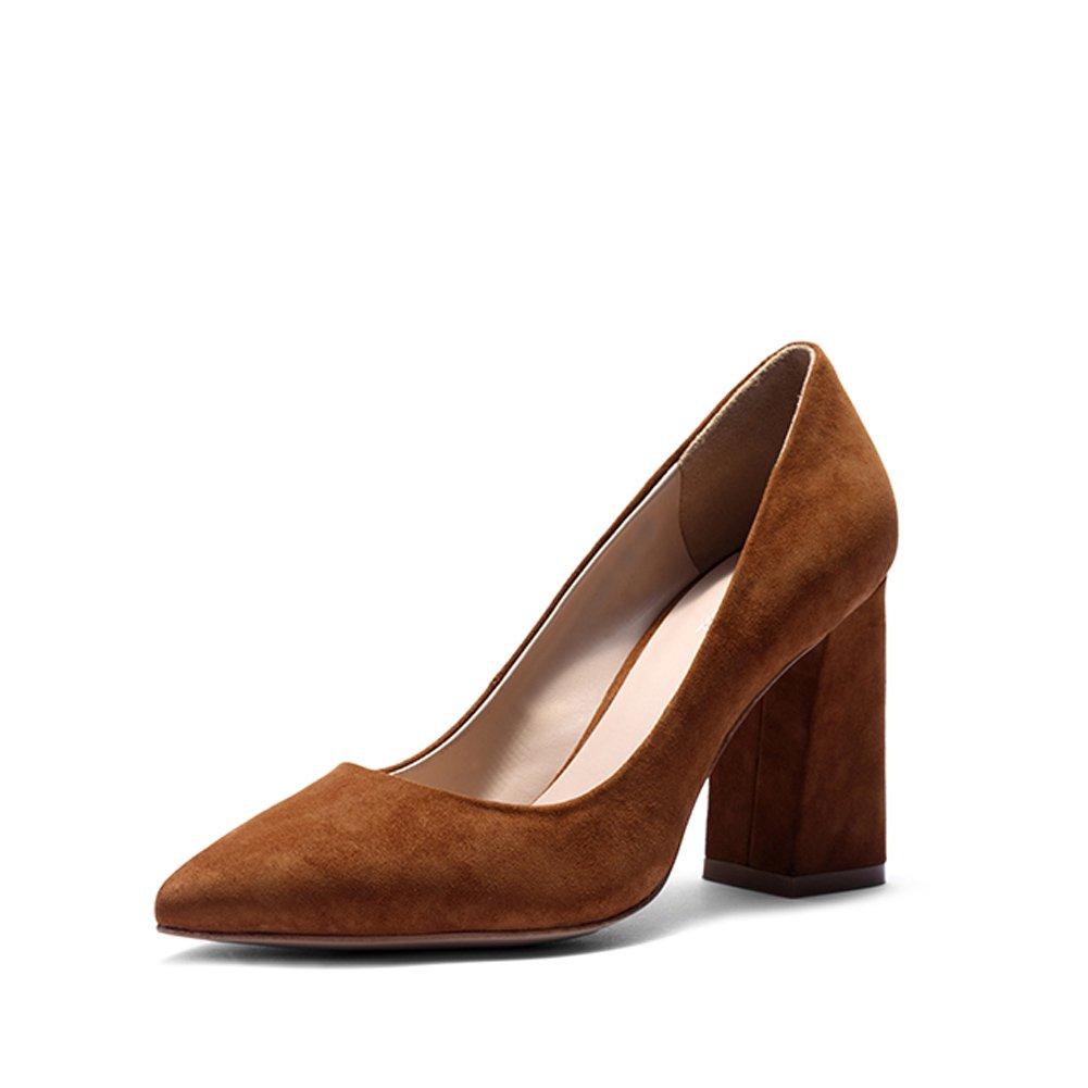 Darco Gianni Mujer Zapatos Medio Alto Tacon Negro Cuero formales Oficina Shoes Bloquear Grueso Cuadrado Tacon Punta Cerrada 37 EU|Marrón Gamuza