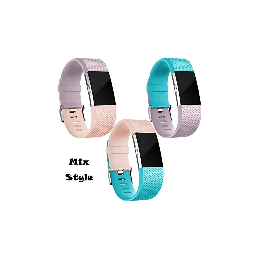 Wepro Replacement Accessory Wristbands Compatible for Fitbit Charge 2 HR, Small, Teal, Blush Pink, Lavender