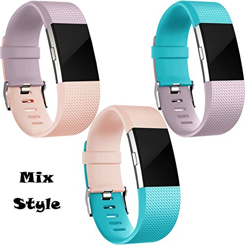 Replacement Bands for Fitbit Charge 2, 3 Pack Fitbit Charge2 Wristbands, Small, Teal, Blush Pink, Lavender