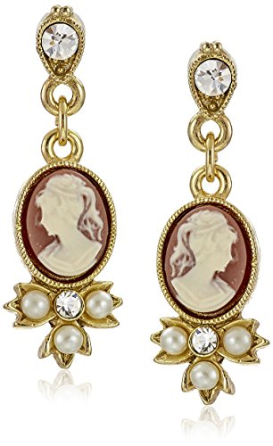 Cameo Gold Tone Earrings - Downton Abbey Carded Gold-Tone Oval Cameo Simulated Pearl and Crystal Drop Earrings