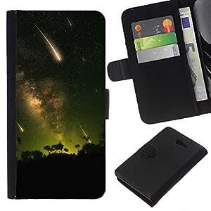 YiPhone /// Tirón de la caja Cartera de cuero con ranuras para tarjetas - Estrellas fugaces - Sony Xperia M2