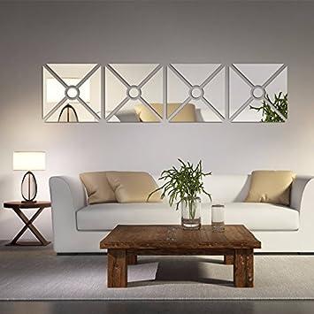 gk die spiegelwand square schlafzimmer wohnzimmer 4 pack silver 40 40cm