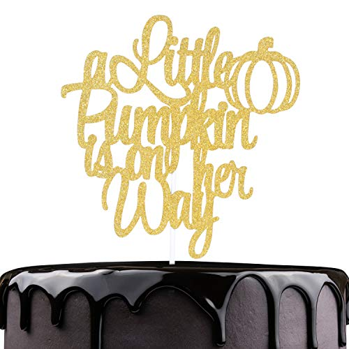 A Little Pumpkin Is One Way Birthday Cake Topper - Gold Glitter Welcome Baby Cake Décor - Baby Shower Fall Gender Reveal - Happy Halloween Autumn Party Decoration
