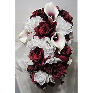 Burgundy White Rose Calla Lily Bridal Wedding Bouquet & Boutonniere 8