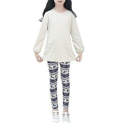 Allywit Christmas Children Trousers Printing Leggings Flower Baby Girls Pencil Pants (4T, Blue)