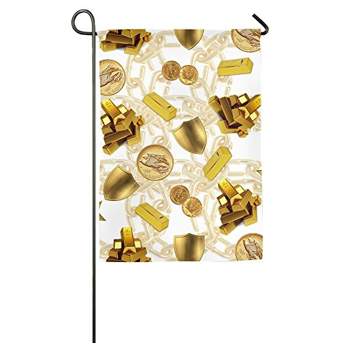 Hattgg Wear Resistant Gold Money Family Party Outdoor Yard House Garden Flags 12 X 18 Semi Transparent Polyester Fiber Banners -