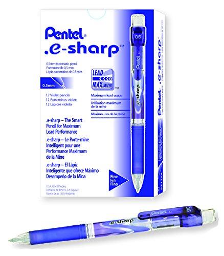 Pentel e-sharp Automatic Pencil, 0.5mm, Violet Accents, Box of 12 (AZ125V) (Pencil E-sharp Pentel Automatic)