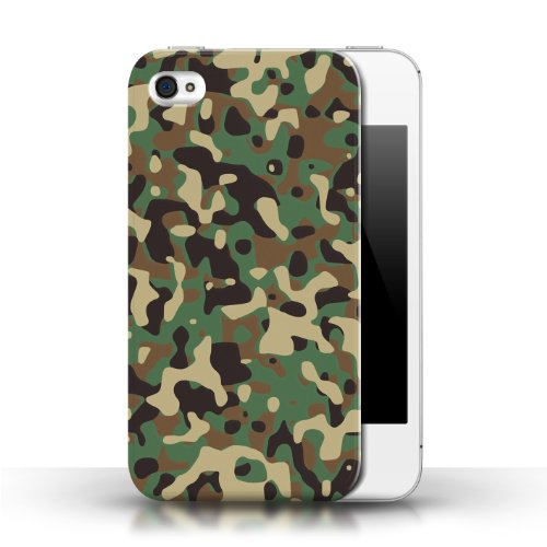 Etui / Coque pour Apple iPhone 4/4S / Vert 3 conception / Collection de Armée/Marine militaire/Camouflage