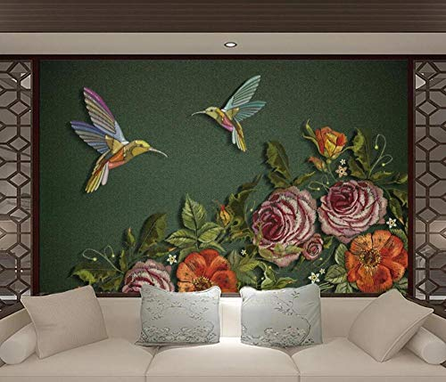 Wall Mural 3D Wallpaper Hand-Painted Chinese Embroidery Pen Flower and Bird Modern Wall Paper for Living Room Bedroom Tv Wall Decor