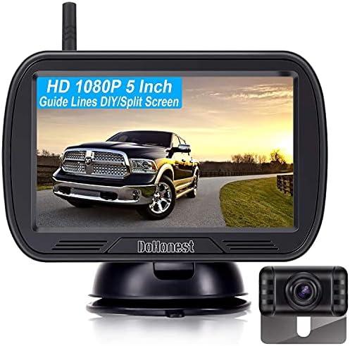DoHonest V25 HD 1080P Digital Wireless Backup Camera System 5 Inch TFT Monitor for Trucks,Cars,SUVs,Pickups,Vans,Campers Front/Rear View Camera Super Night Vision Waterproof Easy Installation
