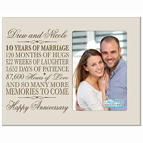 Personalized ten year anniversary gift her him couple Custom Engraved 10th year wedding celebration for husband wife girlfriend boyfriend frame holds 4x6 photo by DaySpring International (Ivory)