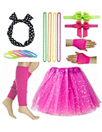 Fancy Girl 80s Star Sequin Tutu Skirt with Neon Necklace Bow Headband Hair Clip Set