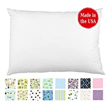 "Hypoallergenic TODDLER PILLOW (13""x18"") in White & Prints - No Pillowcase Needed - Made in USA - Double Stitched for Extra Durability - Soft Percale - Most Recommended since 2007 - No Flame Retardants - Machine Washable - Ages 2 to 4 (White)"