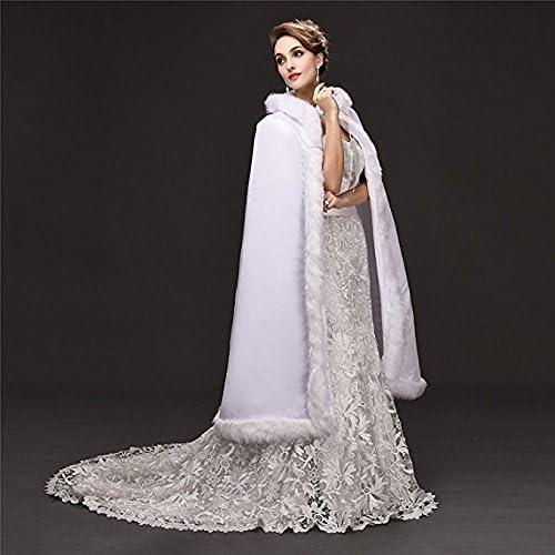 Noriviiq Womens Tea Length White Faux Fur Winter Hood Wedding Cloak for Bridal Wraps Cape