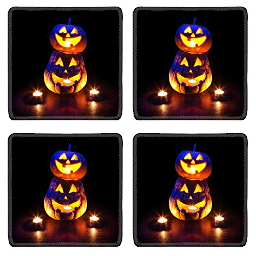 MSD Square Coasters Non-Slip Natural Rubber Desk Coasters design 20841636 Scary Halloween pumpkins with eyes glowing inside at black background ()