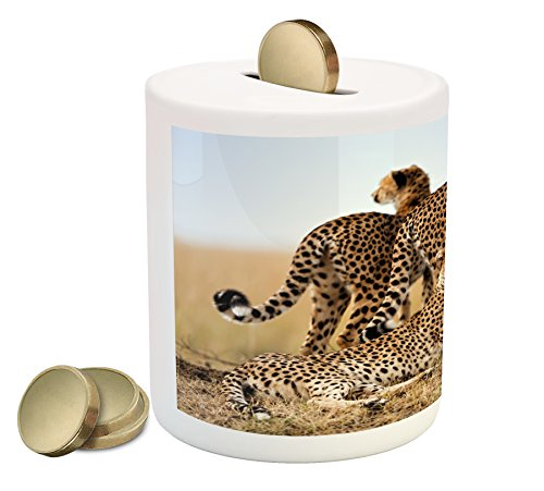 Cheap  Ambesonne Africa Piggy Bank, Cheetahs Mother and Two Young Baby Looking for..