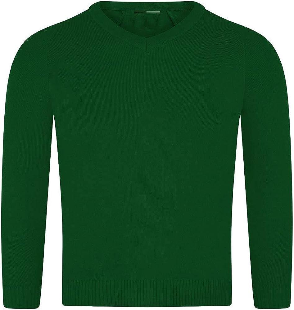 Candid Styles Kids Children Girls V Neck School Uniform Fleece Jumper Sweatshirt Top 5-13