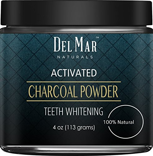 Activated Charcoal Teeth Whitening Activated Charcoal Powder from Del Mar Naturals, 4 oz, Natural Teeth Whitener