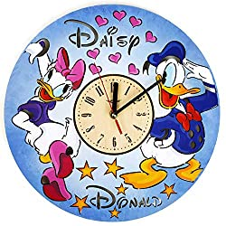 ShareArt Donald and Daisy Duck Silent Wood Wall Clock - Original Home Nursery Living Room Bedroom Kitchen Decor - Best Gift for Friends Kids Men Woman - Unique Wall Art Design - Size 12 Inch