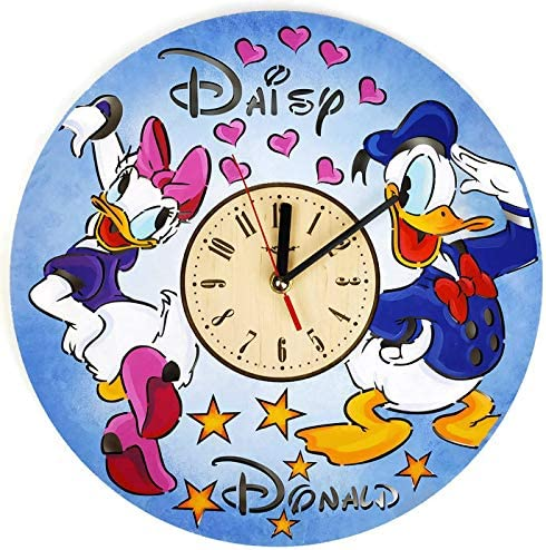 ShareArt Donald and Daisy Duck Silent Wood Wall Clock