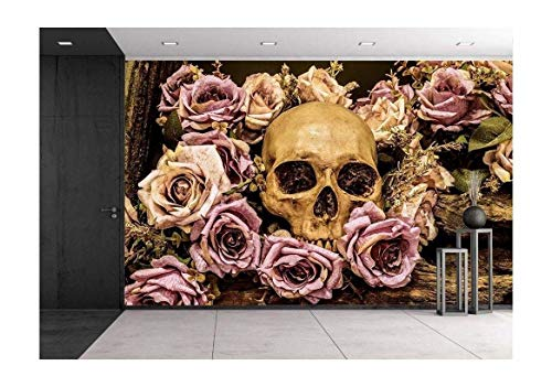 wall26 - Still Life Painting Photography with Human Skull and Roses Background - Removable Wall Mural | Self-Adhesive Large Wallpaper - 100x144 inches]()