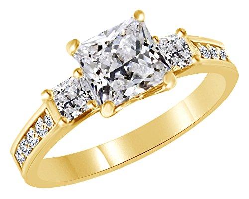 3quilates Zirconia cúbica blanca tres piedra anillo de compromiso y boda amarillo de 14K oro sobre anillo de plata de...
