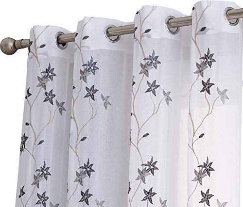 HLC.ME Emma Floral Embroidered Semi Sheer Voile Window Curtain Drapery Grommet Top Panels for Bedroom & Living Room (54