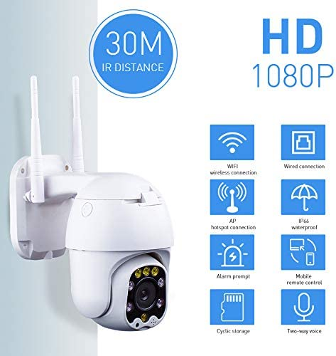 Outdoor PT WiFi IP Security Camera 1080P Home Surveillance Camera Pan/Tilt Two-Way Audio Motion Detection Color Night Vision SD Recording Auto Tracking AT-200DW