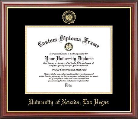 Univ. of Nevada Las Vegas Runnin' Rebels - Embossed Seal - Mahogany Gold Trim - Diploma (Nevada Las Vegas Rebels Seal)