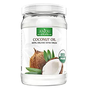 Anjou Coconut Oil 32 oz, Organic Extra Virgin, Cold Pressed Unrefined for Hair, Skin, Cooking, Health, Beauty, USDA Certified
