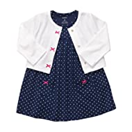 [Sponsored]Navy Blue Polka Dot 2 Piece Dress Set Newborn