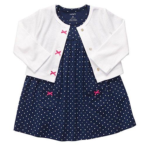 Carter's Baby Girls' 2 Pc Dress Set - Navy Dot - Newborn