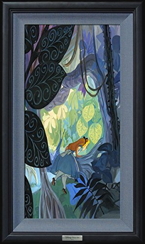 Limited Edition Collectible Movie Plaque - Disney Fine Art Where Curiosity Grows by Jim Salvati Frame Dimensions 29.5 Inches x 17.5 Inches Alice in Wonderland Reproduction Silver Series Limited Edition on Canvas