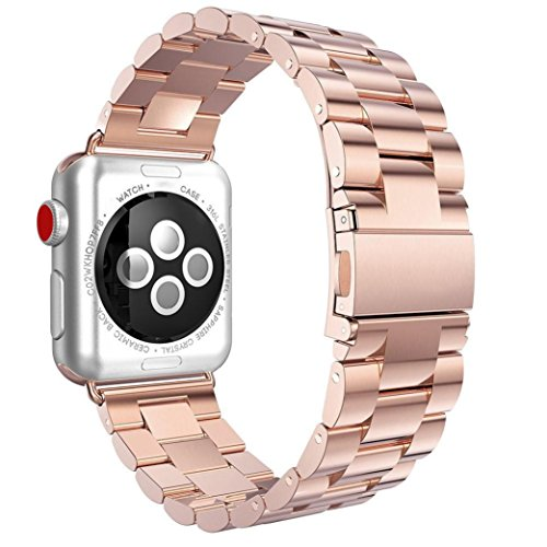 Price comparison product image For Apple Watch Band 38mm,  Boofab Super Slim Stainless Steel Band Replacement Metal Strap with Butterfly Clasp for Apple Watch Series 1,  Series 2,  Series 3 (Rose Gold)